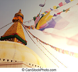 Stupa in Nepal - Mountains in Sagarmatha region,Himalaya