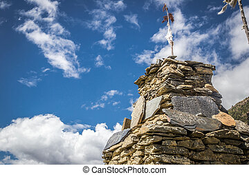 Stupa made of stones in a sunny day