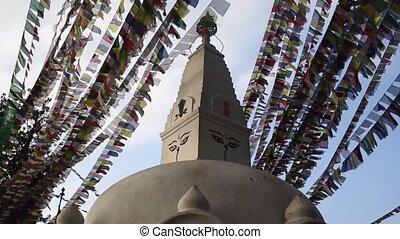 Stupa Nepalese and Tibetan flags in Kathmandu