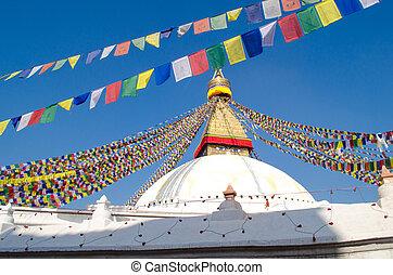 Stupa Swayambhunath in the Kathmandu, Nepal - the famous ...