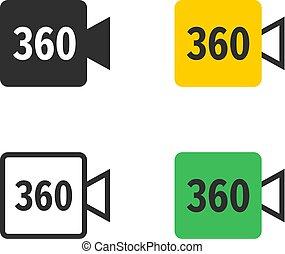 stupeň, ikona, panoramatický, kamera, video, 360