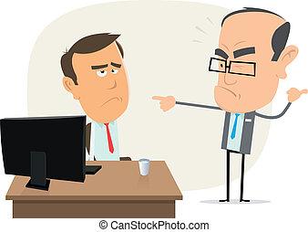 Stupid Boss ! - Illustration of a cartoon scene with boss...