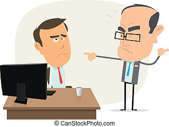 Illustration of a cartoon scene with boss bothering an employee