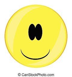 Stupid Smiley Face Button Isolated