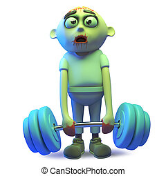 Rendered image of a stupid undead zombie monster getting in shape lifting weights, 3d illustration