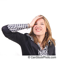 Stupidity - Young woman gesturing stupidity