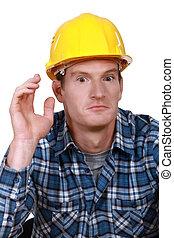 stupito, lavoratore costruzione