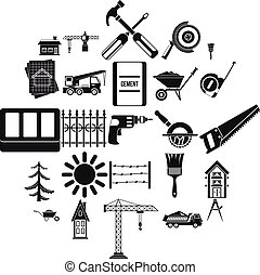 Sturdy construction icons set, simple style - Sturdy...