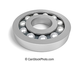 Sturdy metal ball bearing over a white background.