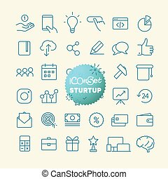 sturtup, 網, アウトライン, モビール, set., icons., 薄いライン, app, アイコン