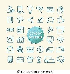 sturtup, teia, esboço, móvel, set., icons., linha magra, app...