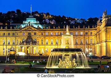 Stuttgart city center, Germany at dusk