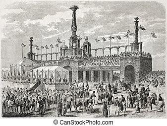 Stuttgart feast - Old illustration of Stuttgart feast in...