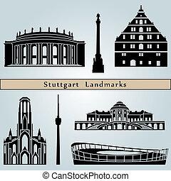 Stuttgart landmarks and monuments isolated on blue...