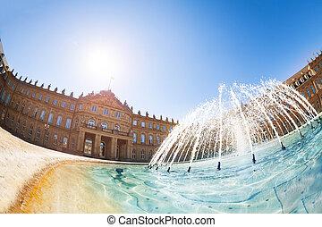 Stuttgart New Castle at Schlossplatz with fountain