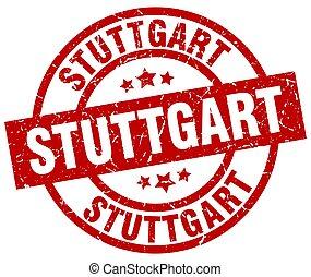 Stuttgart red round grunge stamp