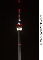 Stuttgart TV Tower at night - The Stuttgart TV Tower is the...