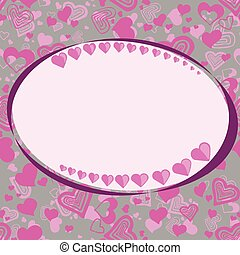 St.Valentine's day frame on background with a lot of hearts