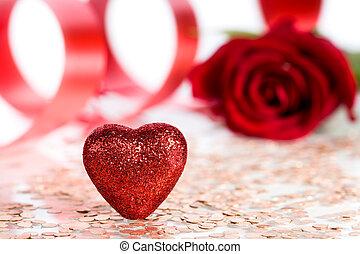 st.valentine's, pfahl, tag, karte