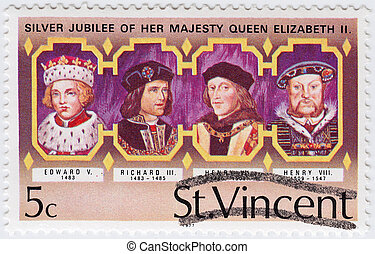 ST.VINCENT - CIRCA 1977: stamp printed in ST.Vincent shows UK Kings - Edward V (L) , Richard III ,  Henry VII , Henry VIII (R), Silver Jubilee of Queen Elizabeth II, circa 1977