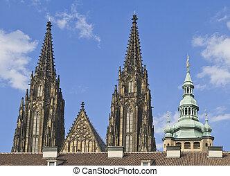 St.Vitus Cathedral towers-Prague Castle
