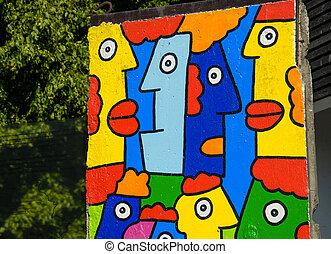 stycke, av, berlin vägg, med, färgrik, graffiti