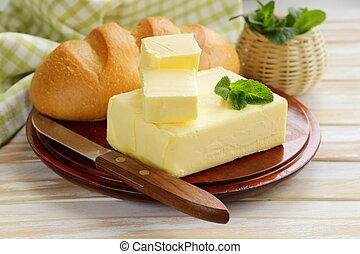 stycke, av, frisk, smör, för, frukost
