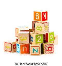 stykke legetøj, af træ, alfabet, blocks., terninger, letters...