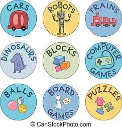 stykke legetøj, etiketter