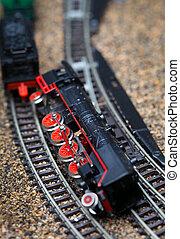 stykke legetøj, jernbane, tog, styrt