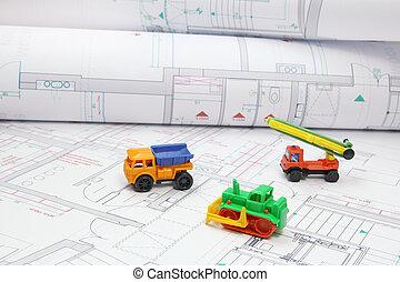stykke legetøj, konstruktion apparatur, på, arkitektoniske, projekter