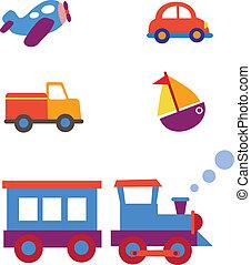stykke legetøj, sæt, transport