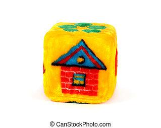 stykke legetøj, terning, hos, hus, mønster