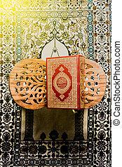 styl, święty, fotografia, -, koran, muslims, książka, filtrowany