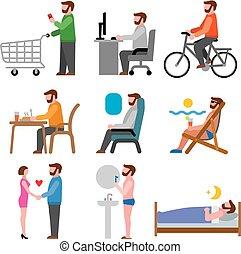 styl życia, ilustracja, ikony