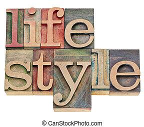 styl życia, w, letterpress, typ