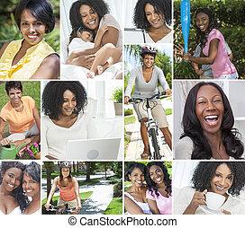 styl życia, zdrowy, amerykanka, samiczy afrykanin, kobiety