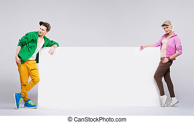 styl, barwny, biodro-skaczą, nastolatki