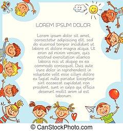styl, barwny, broszura, reklama, szablon, niemowlę