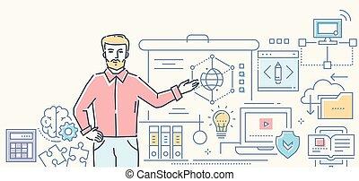 styl, barwny, -, ilustracja, projektować, informatics, lekcja, kreska
