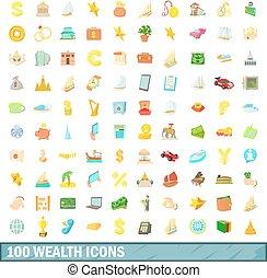styl, bogactwo, ikony, komplet, 100, rysunek