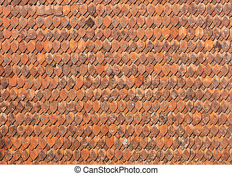 styl, ceramiczny, stary, dachówki, dach