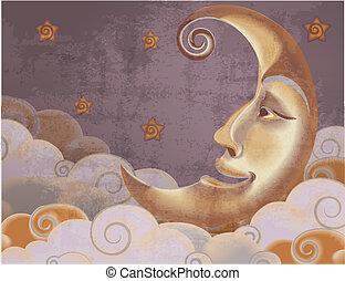 styl, chmury, księżyc, ilustracja, retro, gwiazdy, pół