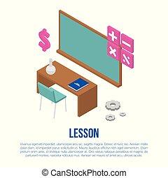 styl, chorągiew, isometric, pojęcie, lekcja