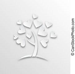styl, cięty, list miłosny, dzień drzewa, papier, serca