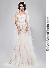 styl, dress., prawdziwy, wspaniały, długi, panna młoda, espousal., biały ślub, wesele