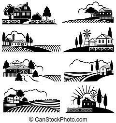 styl, drzeworyt, okolica, rocznik wina, tła, scene., zagroda, wektor, krajobraz