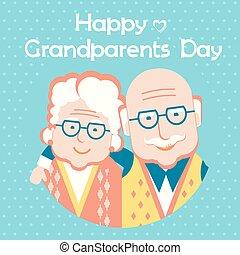 styl, dzień, szczęśliwy, karta, text., dziadkowie, wektor, płaski