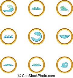 styl, elementy, ikony, komplet, woda, rysunek
