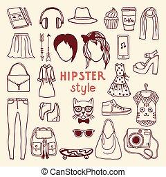 styl, elementy, różny, przybory, tchórzliwy, hipster, female., szykowny